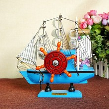 Wooden crafts sailing model decoration with music box function Sailboat model ship decoration home ornaments