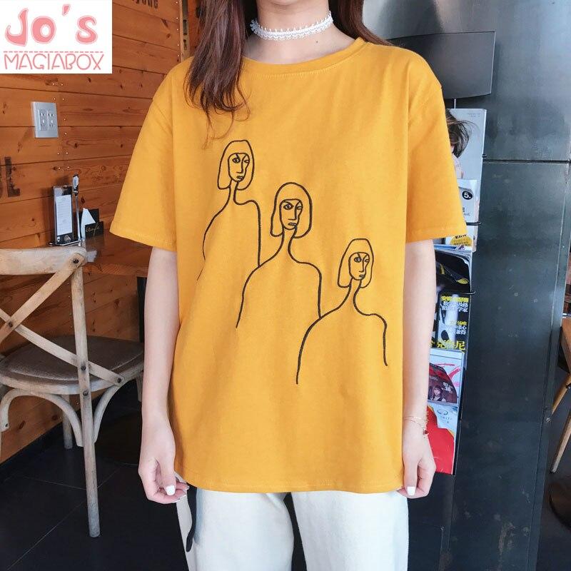 Womens Black White Yellow Printed Tshirt Hip Hop Oversized Casual T Shirt Women -1637