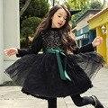 Vestido de la muchacha nuevo otoño resorte de la manga larga de cuello vestido de la muchacha cabritos del vestido del remiendo blanco negro de encaje de malla ropa de los niños