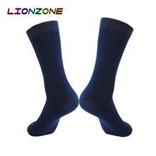 LIONZONE Men Dress Socks British Style Business Formal Occasions US9 13 Antibacterial Deodorant Gentleman Bamboo Socks