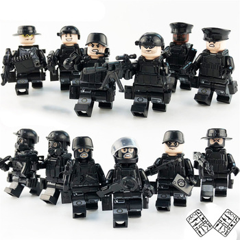 12pcs/set Military SWAT Teams Figure Legoinglys City Police Weapon Model Building Blocks kits Brick Toys for Children kids 1