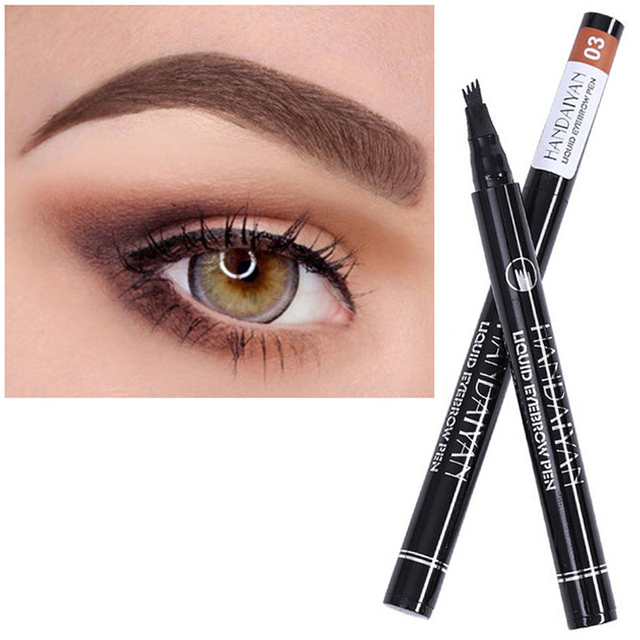 Liquid eyebrow pencil Waterproof Long Lasting 4 Fork microblading Eyebrow Tattoo Pen crayon sourcil wunderbrow Pen Tint Makeup 3