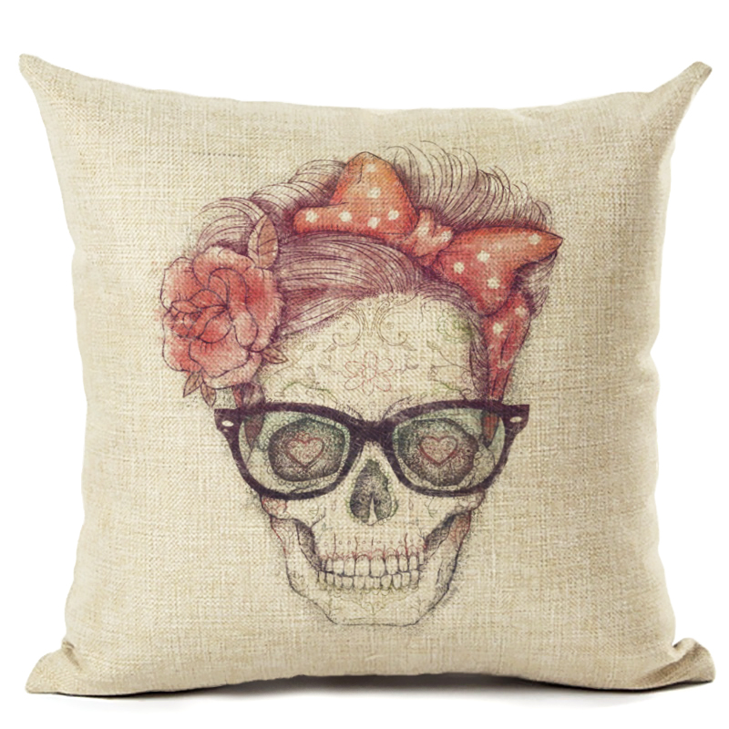 Home Decor Skull And Animal Printed High Quality Cotton Linen Decorative Cushion Cover Pillowcase Car Seat