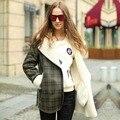Veri Gude Faux Женщин Меховым Воротником Из Искусственного Замша Пальто Plaid Pattern Искусственного Меха Пальто для Зимы
