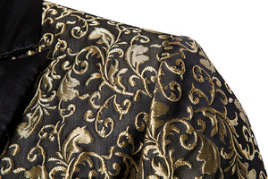 Image 5 - Noir Jacquard bronzant Floral Blazer hommes 2018 marque de luxe simple bouton Costume veste hommes de mariage scène Costume Homme 2XL