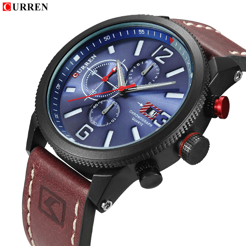 CURREN Luxury Brand Men Leather Quartz Watch Men's Fashion Casual Sport Wrist Watches Male Waterproof Chronograph Analog Clock curren men s fashion and casual simple quartz sport wrist watch