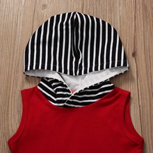 Hooded Tops +Striped Short Pant 2PCS Outfits