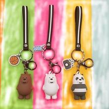 We Bare Bears Key chain Figures Keychain Grizzly Panda Ice Bear Cartoon Pendants Animal Series Silica gel toy Gift