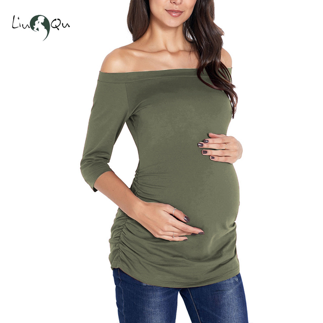 Womens Pregnancy Off Shoulder 3 Quarter Blouse Striped Top Maternity Clothes Slash Neck Pregnancy Womens Clothing ropa mujer 5