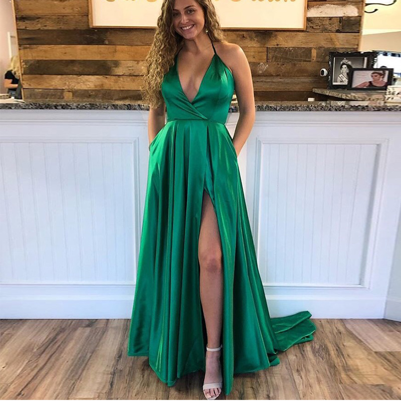 Sexy Front Split Dark Green Long   Evening     Dresses   With Pocket Halter Neck Formal   Evening   Party   Dress   Vestido De Noche Prom   Dress