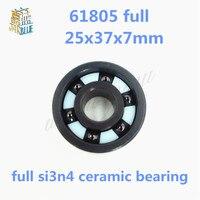 Free shipping 6805 61805 full SI3N4 silicon nitride ceramic deep groove ball bearing 25x37x7mm bike bearing,MTB bicycle bearing