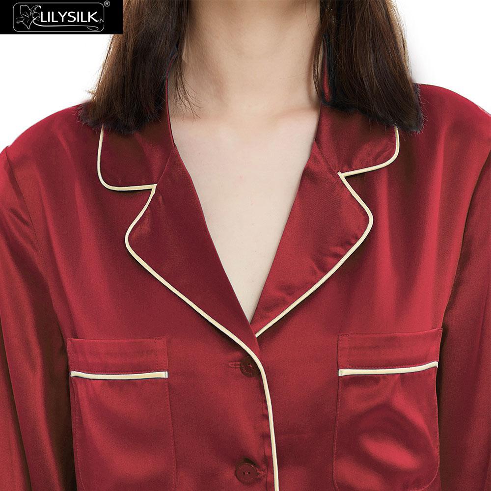 Image 4 - LilySilk 100 Silk Pajamas Set Gold Piping Silk Women Full Length 22 momme Mulberry Free ShippingPajama Sets   -