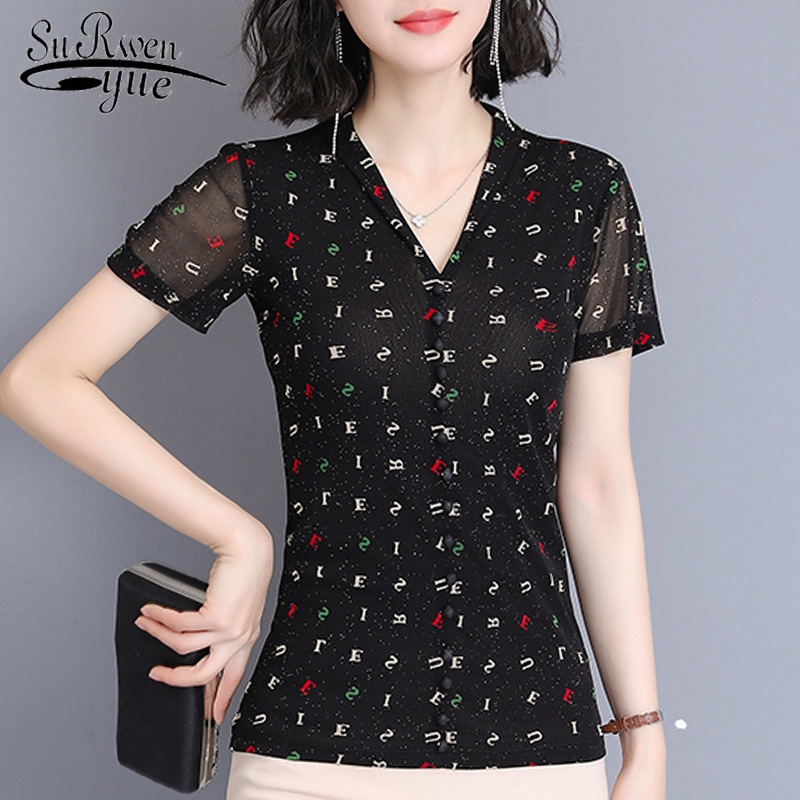 Plus Size Women Tops Short Sleeve Women's Summer Blouses 2019 Print Women Blouse Chemisier Femme Womens Tops And Blouses 4332 50