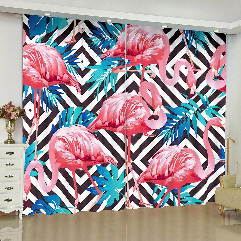 Image 5 - Flamingo curtains for window Rainforest Flamingo blinds finished drapes window blackout curtains parlour room blinds curtain-in Curtains from Home & Garden