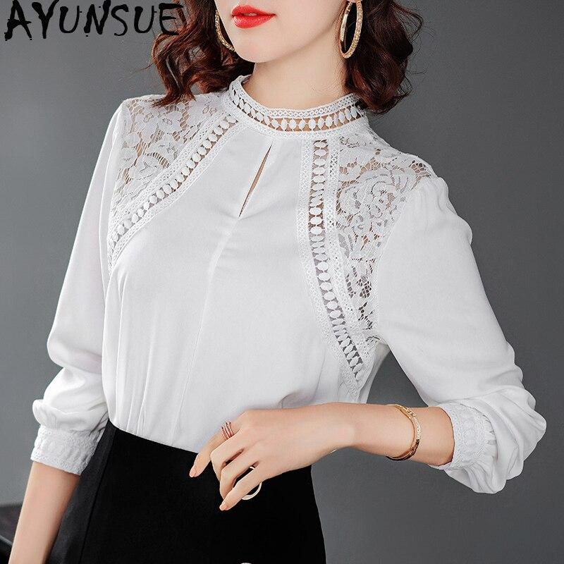 Chemisier pour femmes printemps automne Blouses 2019 femmes hauts et Blouse Vintage en mousseline de soie dentelle Blouse chemise blanche Camisas Mujer MY2426