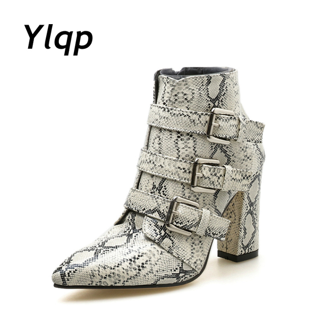 77bff309af65 Snake Print Women Ankle Boots Buckle Pointed Toe Foot wear Thick High Heels  Female Booties Boot Party Shoes Women Pumps 2018