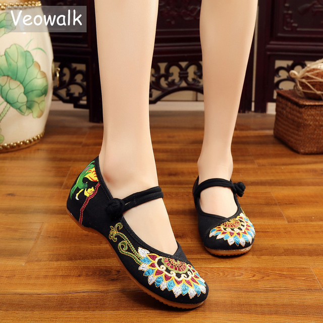 Veowalk Handmade Fashion Women's Ballet Flat Shoes,Ladies Old Peking Flats With Buddhism Totem Embroidery Soft Sole Casual Shoes