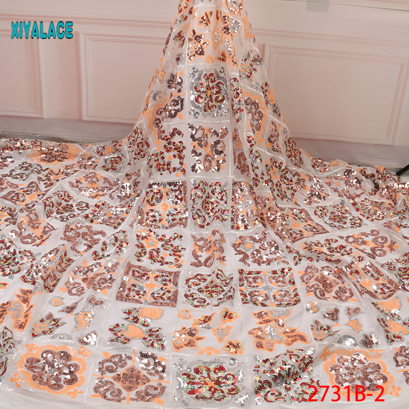 Nigerian Lace Fabric 2019 High Quality African Lace Fabrics Organza Sequins Beads Embroidery French Tulle Lace Fabric YA2731B-2