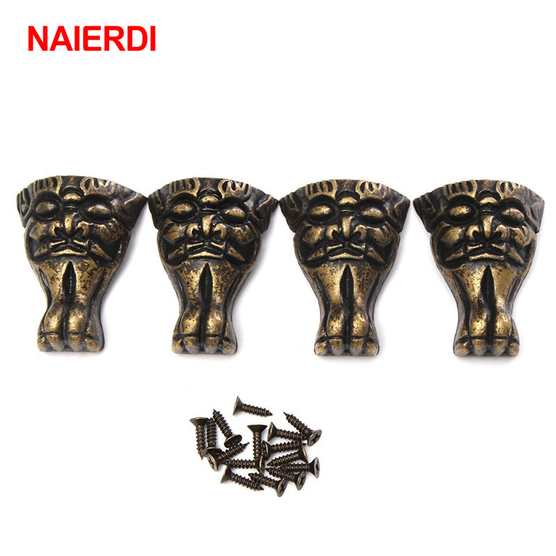 NAIERDI 4pcs Antique Brass Jewelry Chest Wood Box Cabinet Decorative Feet Leg Corner Brackets Protector For Furniture Hardware