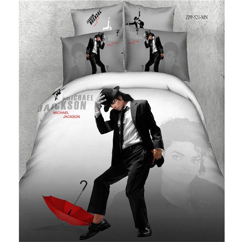 Ms.O 3D Print Duvet Cover Set Queen Size Movie Star Marilyn Monroe Michael Jackson Bedding Set Cotton Bed Sheet Set Bed Linen