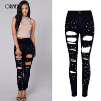 ORMELL Black Ripped Holes Large Size High Waist Pencil Pants 2018 New Women Boyfriend Style Fashion Nail Beads Sexy Skinny Jeans