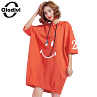 Oladivi Oversized Plus Size Women Clothing Fashion Ladies Casual Loose Hooded Dress Female Tops Tee Shirt