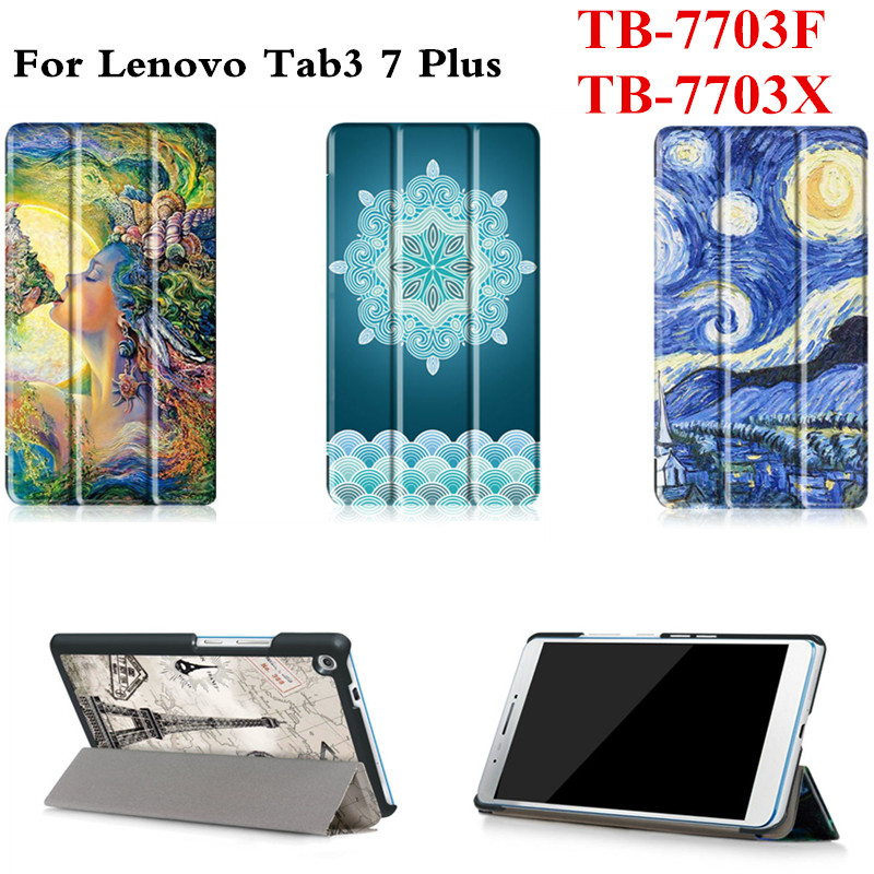 цены  Ultra Slim Stand PU Leather Cute Case For Lenovo Tab 3 7 Plus 7703F 7703X TB-7703F TB-7703X 7