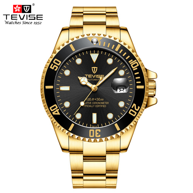TEVISE Men Gold Watch Auto Date Mechanical Watches Stainless Steel Self-Wind Wristwatches Relogio Masculino Automatico Montres стоимость
