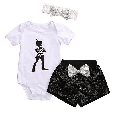 3Pcs Cute Baby Girl Clothes Newborn Toddler Kids Short Sleeve Bodysuit Tops + Sequin shorts Pants +Bowknot Headbands Outfits Set