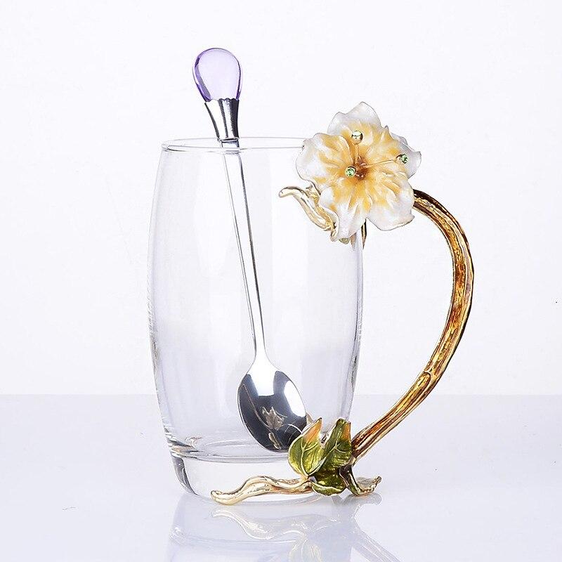 Émail couleur tasse costume cristal fleur mère cadeau emballage thé ensemble café parfumé vin rouge petit déjeuner verre tasse 2/kits à la main