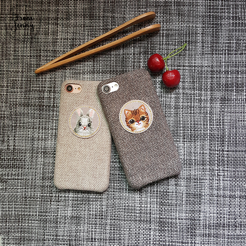From Jenny Self Made New Phone Case for iphone X 7 7plus 8 8plus 6 /6S Plus Cute Cat and Rabbit Circle Patch Fabric For iPhone X