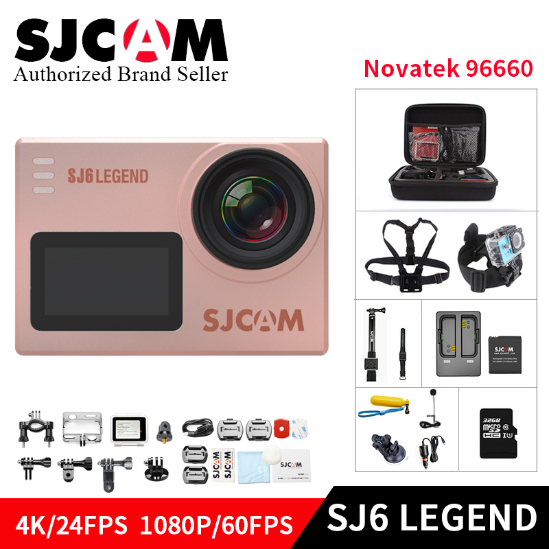 Original SJCAM band SJ6 LEGEND 4K 24fps Ultra HD 16MP Waterproof Action Camera 2.0 Touch Screen Remote Sports DV Mini camcorder