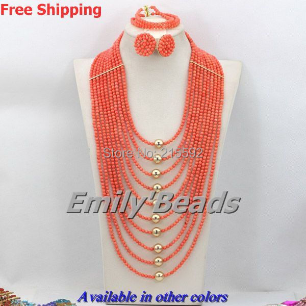 African Coral Beads Jewelry Set Orange Big African Jewelry Set Nigerian Beaded Wedding Beads Jewelry Sets Free Shipping CJ285