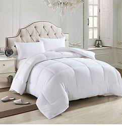 Blanco sólido casa doble llenar abajo alternativa edredón de microfibra cubierta peso medio para toda la temporada