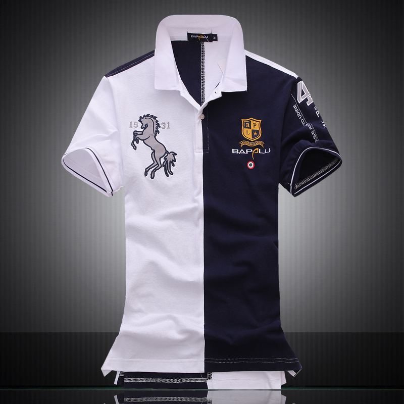 embroidered horse logo brand militare men polo shirts air