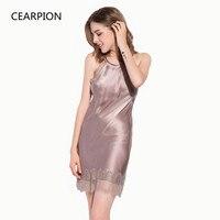 CEARPION Nightdress Women Sexy Lace Dressing Gown Backless Sleepwear Silk Natural Intimate Lingerie Nightwear Soft Nightgown