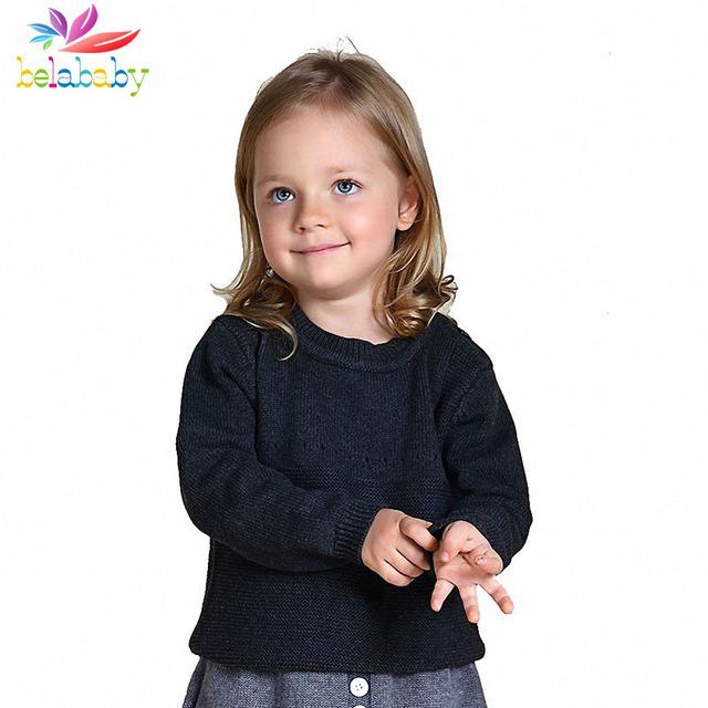 Belababy Meninas Do Bebê Camisola 2017 Outono Nova Baby Girl Bonito Padrão de Coelho Camisola Crianças Roupas De Malha De Lã Blusas Desenhos Animados