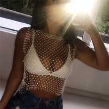 SKMY  rhinestone sparkly sleeveless sexy fishnet top summer tops for women 2019 fashion transparent rave hipster white t shirt