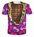 2016 Nova Moda de Impressão 3D de Chocolate Pettern T Shirt Dos Homens Camiseta de Manga curta Camisa Casual Hip Hop Roupas de Verão Estilo atacado