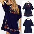 Hot Summer Women Retro Ethnic Style Flower Embroidery V-Neck 3/4 Sleeve Loose Pleated Mini Dress