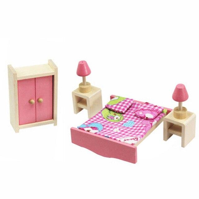 Wooden Miniature Dollhouse Furniture Toys Set Bedroom Kitchen Dinner ...