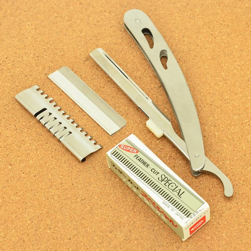 Meisha 1Pcs Hair Razors Men Straight Barbers Edge Steel Razors Folding Shaving Knife Hair Removal Tools With 10pcs Blades HC0003 in Razor from Beauty Health
