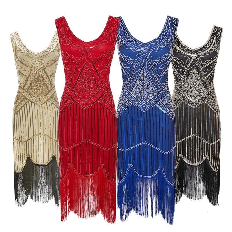 2157cc7d2 Mulheres Vestido de Festa 1920 s Grande Gatsby Flapper Vestidos Lantejoula  Bead Fringe Vestido de Noite V Pescoço Adornado Com Franjas Sem Mangas