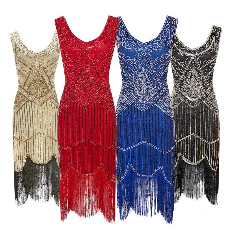 Vestido de festa feminino 1920 s great gatsby flapper vestidos lantejoulas grânulo franja vestido noite v pescoço embelezado franjas sem mangas