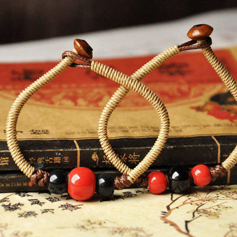 Ceramic Red Black Beads Charm Bracelcets Weave Rope Links Chain Adjustable Wristbands Cuff Bangles For Women Men Hand Jewelry