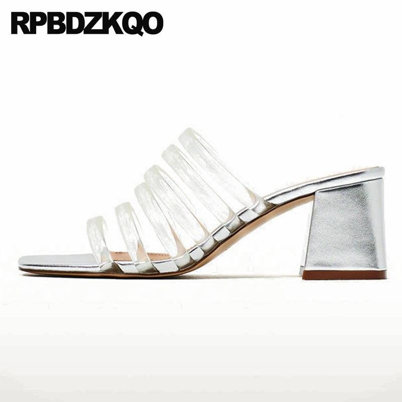 8c6f0974dcf US $36.56 36% OFF|Plastic Pumps Plus Size Runway High Heels Clear Gladiator  Slides Block Glass Slipper Transparent Gold Sandals Shoes Women Rubber-in  ...