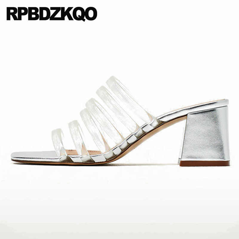 4df0271d5 Plastic Pumps Plus Size Runway High Heels Clear Gladiator Slides Block  Glass Slipper Transparent Gold Sandals
