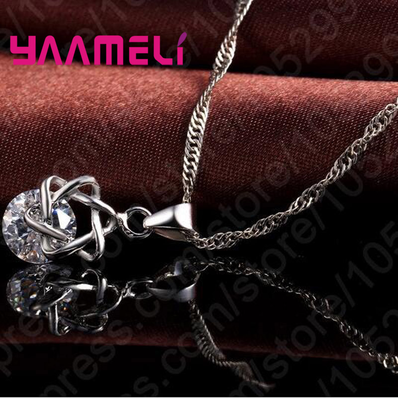Big Discount Top Quality 925 Sterling Silver Shining CZ Fashionable Necklace Earrings Jewelry Sets For Women Wedding 1