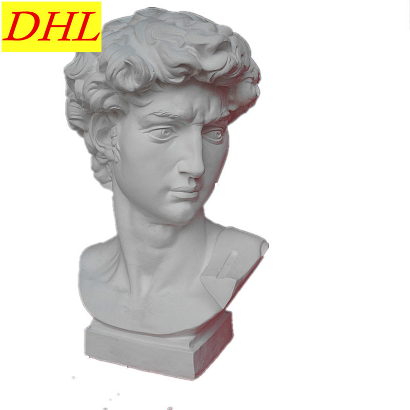60cm Retro David Bust Figure Michelangelo Buonarroti Statue Gypsum Resin Craftwork Desktop Home Decorations Collectible L2179 115cm retro greek mythology venus bust figure aphrodite venus statue gypsum resin craftwork desktop home decorations l2190