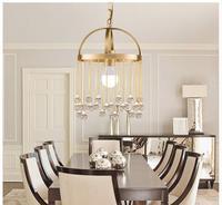 Free Shipping Nordic E27 Modern Light Pendant Lamp Brass Pendant Vintage Lamp K9 Crystal Bronze Pendant For Kitchen Lighting